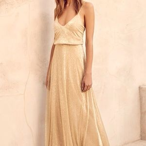 Lulus Sparkly Gold Flowy Maxi Dress Long Gown